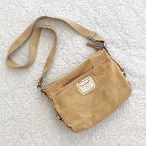 Fossil Brand Tan Corduroy Crossbody Messenger Bag